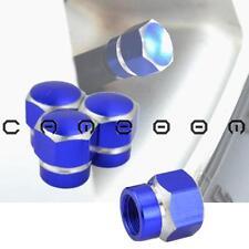 4X Blue Aluminum Hexagonal Car Tire Wheel Rim Air Port Dust Cover Valve Stem Cap