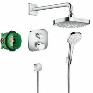 Hansgrohe ShowerSet Croma Select E square thermostatic valve shower head set
