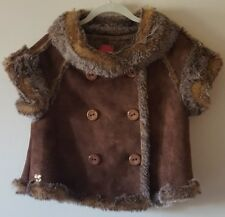 BETSEY JOHNSON Brown Faux Suede Fur Button Warm Winter Peacoat Jacket Vest S/M