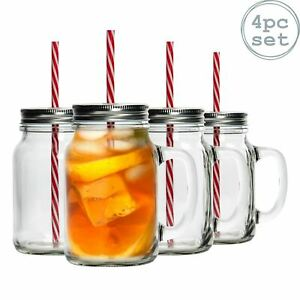 4 Mason Glass Jam Jar Drinking Cocktail Glasses with Straw & Lid, 620ml