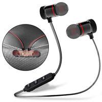 Metal Magnetic Bluetooth Headphone Wireless Earphone Sports Bass Headset Earbuds