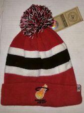 '47 Brand NBA Miami Heat Knit Pom Top Beanie Hat Toboggan New W/tags Red/Wht/Blk