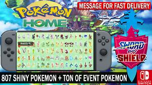 Pokemon Home 807+ Pokemon Complete National PokeDex & Tons Of Event Pokemon