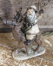 Primitive Santa Claus Reindeer Folk Art Farmhouse Distressed Christmas Holiday