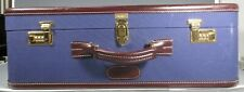 T. Anthony Hard Side Purple/Blue Canvas & Leather Suitcase 25 x 9 x 16 inches