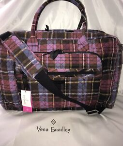 New Vera Bradley Signature Lay Flat Weekender Carry-On Cozy Plaid MSRP $165.00