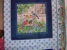 "18"" x 45"" birds feeding with cat supervising through window panel, cotton BLU502"
