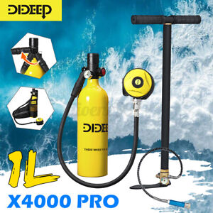 AU X4000 Pro Mini Scuba Tank Diving Oxygen Reserve Hand Pump Dive Equipment Set