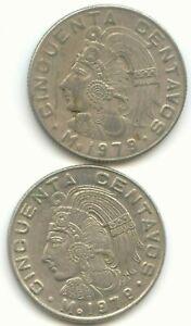 MEXICO 1978 1981 diez 2 peso estados unidos mexicanos Mexican EXACT SET
