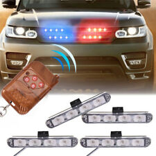 4LED Wireless Remote Control Car Police Strobe Emergency Flashing Light Blue&Red