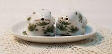 Vtg Handpainted Frog Salt & Pepper Set W/ TrayThialand