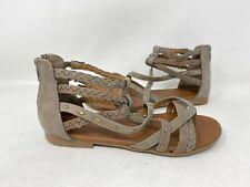 NEW! SO Women's Scarlet Gladiator Zip Up Strappy Sandals Stone #158456 161DE tk