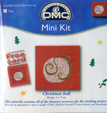 Christmas ball cross stitch carte kit | 5cm x 5cm | dmc mini kit