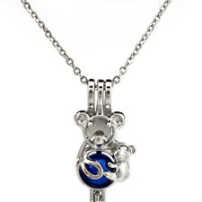 K695 Silver Bear Mother Beads Cage Pendant Essential Oil Diffuser Pearl Cage