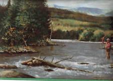 MAN FISHING IN THE  STREAM WALLPAPER BORDER  WE604B