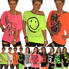 Sexy Fledermaus T-Shirt Smiley Neon Glitzer Tank Top Bluse Ranke Rose Longshirt