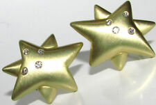 UNKOWN DESIGNER VIDEO 18KT .50CT DIAMONDS STAR CLIP EARRINGS HEAVY