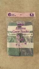 Vtg 6-Pr Ladies Sport Crew/Tube Socks 80/20 Cotton/Poly NOS 9-11 Tennis
