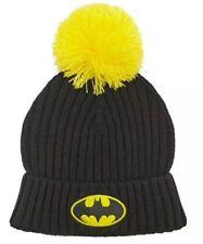 Batman Knit Stocking Cap Winter Hat DC Comics Pom Beanie Black & Yellow NEW