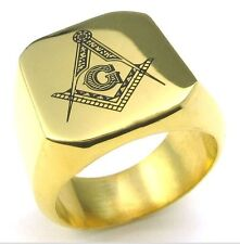 MASON MASONIC FREEMASON GOLD MENS STAINLESS STEEL RING size 8-15 YOU CHOOSE