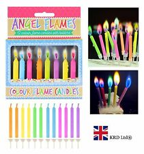 12 x MAGIC COLOURED FLAME CANDLES Kids Adults Birthday Party Cake Decor Topper