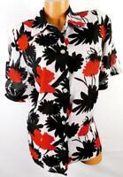 Fancy lady white black floral sheer see-through women's plus size dressy top 16W