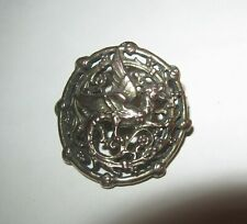 Victorian Pierced Silver Dragon Button Winged Griffin Art Nouveau Design Vintage