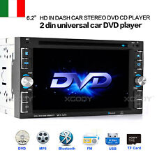 "6.2"" AUTORADIO STEREO RADIO TOUCH LETTORE MP5 MP3 DVD CD BLUETOOTH 2 DIN 6205 IT"