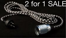 Retro Vintage Fabric Cord Flex Pendant Light B&W HOUNDSTOOTH PLUG IN with Switch