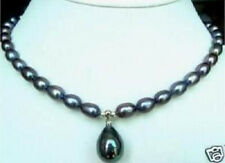"7-9mm Black Akoya Pearl Necklace Shell Pearl Pendant 18""AA"