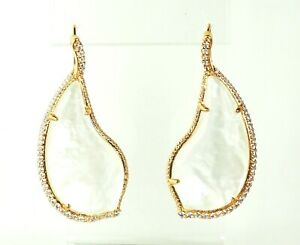 KENDRA SCOTT Tinley Rose Gold Plated Ivory Mother-of-Pearl CZ Drop Earrings