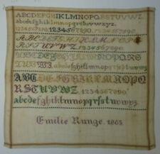 ANTIKES STICKMUSTERTUCH Emilie Runge Hannover 1863 Kreuzstich ca. 37 x 35 cm