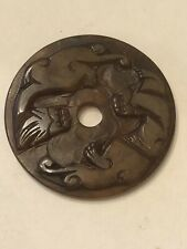 """Old China Hand Carved Translucent Jade """"Double Dragon"""" Bi Pendant"""