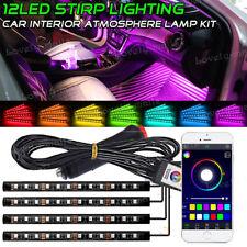 Multi-Color RGB 12 LED Strip Light Music APP Control For Car Interior Lighting
