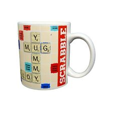 Scrabble Board Game Coffee Mug Hasbro Letter Tiles Word Finder Cup 2016