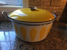 Huge Vtg CATHRINEHOLM Yellow on White Lotus 8 QT Dutch Oven Casserole MCM
