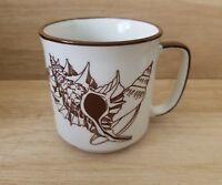 Vintage Sea Shell Coffee Mug Cup Made in Japan Brown
