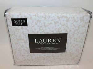 NWT $105 RALPH LAUREN Khaki White Floral QUEEN Extra Deep Fitted Sheet Set