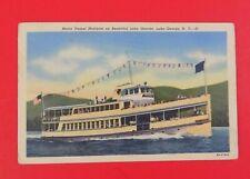 Motor Vessel On Beautiful Lake George ~New York ~ Vintage Linen Postcard