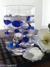 DIY 50pc Floating Jumbo Diamond & Pearl Vase Fillers Mix Size Royal Blue, Ivory