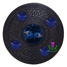 Hs Schottisch Kilt Fly Plaid Brosche 10.2cmSky Blau Stein Chrom Keltisch