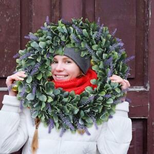 Artificial Door Wreath Hanging Lavender Flower Garland Fake Plant Home Decors