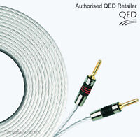2 x 1m QED Silver MICRO Speaker Cable AIRLOC Forte Banana Plugs Terminated Pair