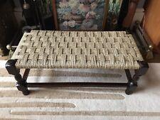 Edwardian Oak Seagrass Long Bench Footstool Woven Stool Antique Retro Vintage