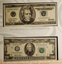 THE LAST 1995 & THE FIRST 1996 USA $20 TWENTY DOLLAR FEDERAL RESERVE NOTES BEP