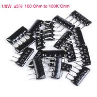 10Pcs 1/8W DIP Network Array Resistor ±5% Range 100 Ohm to 100K Ohm 5/6/7/9 Pin