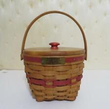 Longaberger Christmas Red Trim Jingle Bell Basket 1994, Wood Crafts Lid & Liner