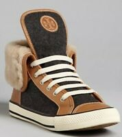Tory Burch Benjamin High Top Shearling Brown Leather Gray Wool Sneakers SZ 6