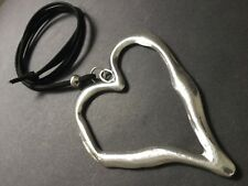 Large Statement abstract metal heart pendant on long Suede necklace Lagenlook