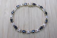 6ctw Sapphire & Diamond GP Sterling Silver Tennis Link Bracelet 12.1g ~ 7-H6285